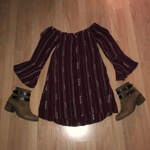 Lush Off-the-Shoulder Maroon Dress